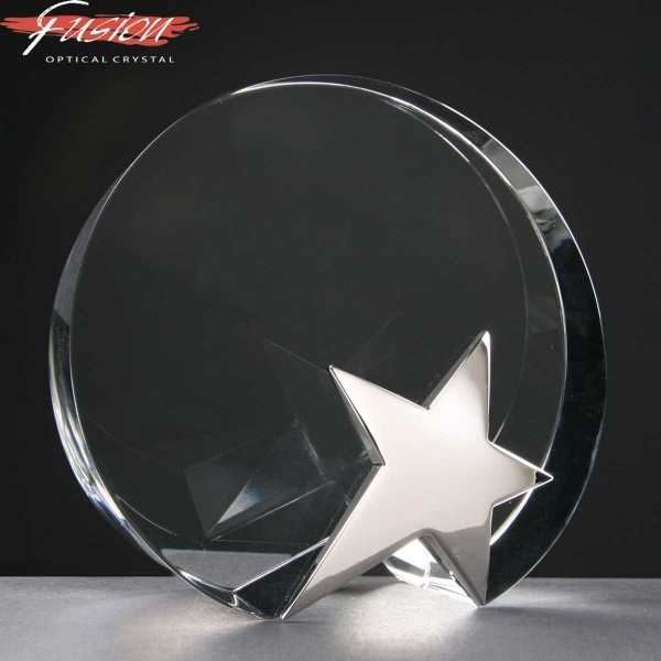 Circle Fusion Crystal Awards With Chrome Star Supplied In Velvet Lined Presentation Case. Price Includes Engraving