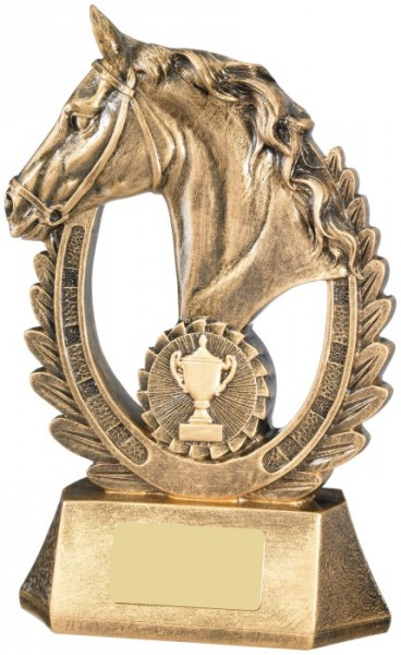 Resin Equestrian Trophies in Antique Gold Coloured Finish 1