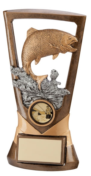 Trout Fishing Trophies In Antique Gold Coloured Finish 1