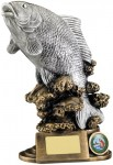 Resin Fishing Trophies in Antique Gold And SIlver Coloured FInish