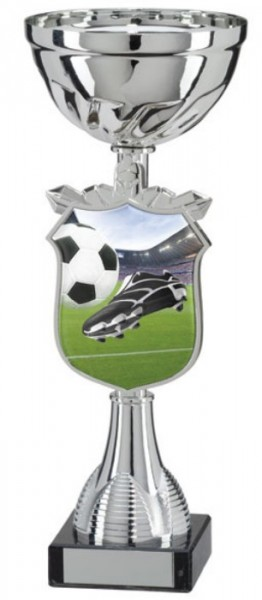 Silver Coloured Football Trophy Cups on Black Marble Base 1