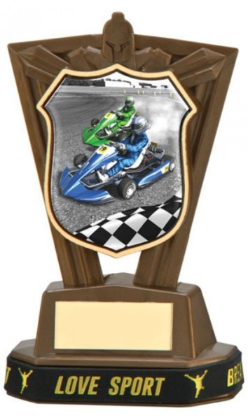 Plastic Go Karting Trophies in Antique Gold Coloured Finish 1