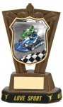 Plastic Go Karting Trophies in Antique Gold Coloured Finish