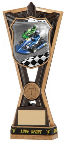 Resin Go Karting Trophies in Antique Gold Coloured Finish 1