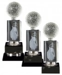 Golf Trophies With 3D Lasered Golf Bag on Black Marble Base