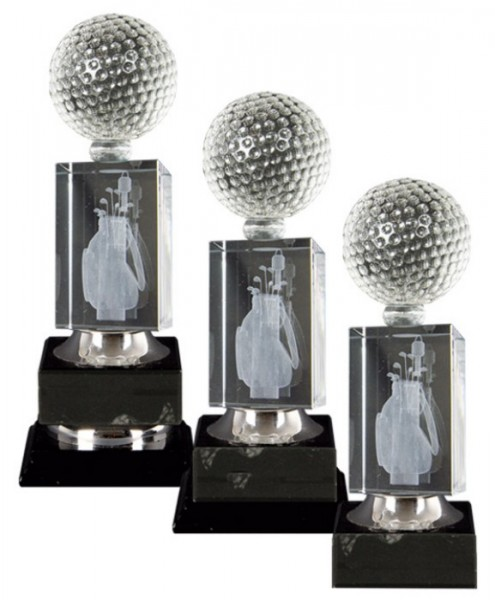 Golf Trophies With 3D Lasered Golf Bag on Black Marble Base 1