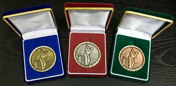 60mm Golf Medals In Brushed Suede Presentation Case 1