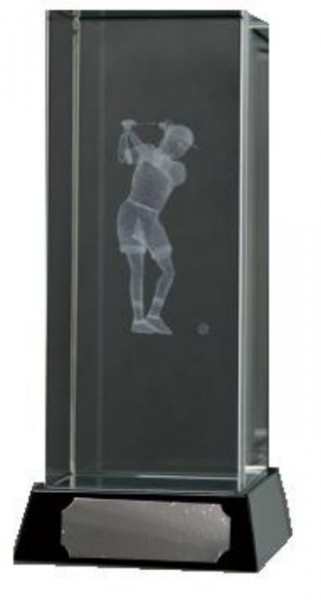 Golf Trophies With 3D Lasered Female Golfer On Black Marble Base 1