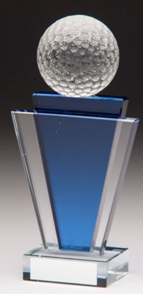 Glass Golf Trophies With 3D Glass Golf Ball 1