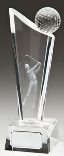 Glass Golf Trophies With 3D Glass Golf Ball And Lasered Golfer 1