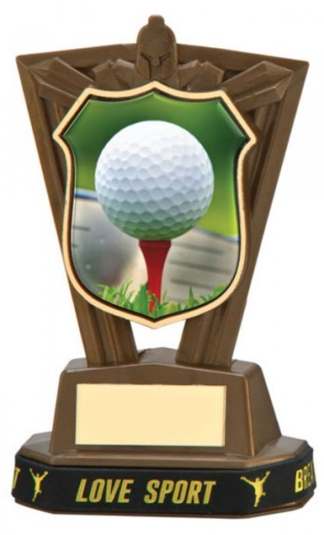 Plastic Golf Trophies in Antique Gold Coloured Finish 1