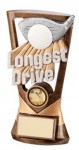 Longest Drive Resin Golf Trophies In Antique Gold Coloured Finish