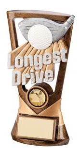 Longest Drive Resin Golf Trophies In Antique Gold Coloured Finish 1