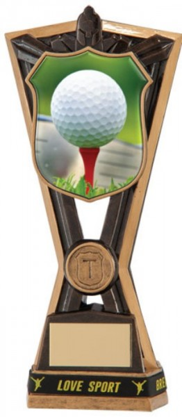 Resin Golf Trophies in Antique Gold Coloured Finish 1