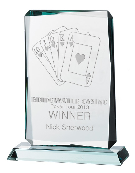 Rectangle Shaped Jade Glass Awards Supplied In Presentation Box