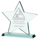 Star Shaped Jade Glass Awards Supplied In Presentation Box. Price Includes Engraving.