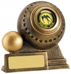 Resin Lawn Bowls Trophies In Antique Gold Coloured Finish