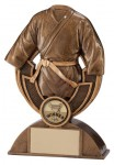Resin Martial Arts Trophies In An Antique Gold Coloured Finish