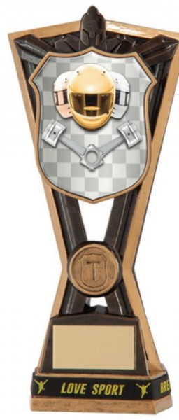 Resin Motorsport Trophies in Antique Gold Coloured Finish 1