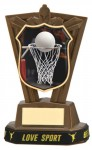Plastic Netball Trophies in Antique Gold Coloured Finish