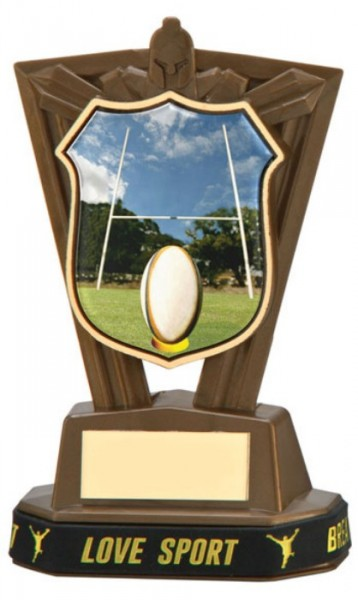 Plastic Rugby Trophies in Antique Gold Coloured Finish 1