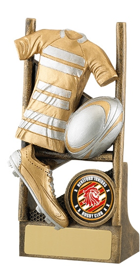 Resin Rugby Trophies In Antique Gold and Silver Coloured Finish 1