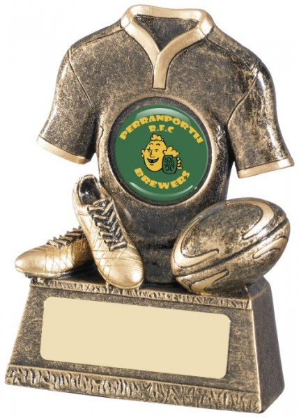 Resin Rugby Trophies in Antique Gold Coloured Finish 1