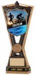 Resin Triathlon Trophies in Antique Gold Coloured Finish