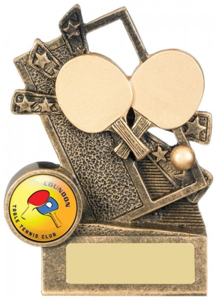 Resin Table Tennis Trophies in Antique Gold Coloured Finish  1