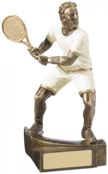 Resin Male Tennis trophies in Antique Gold And White Coloured Fnish 1