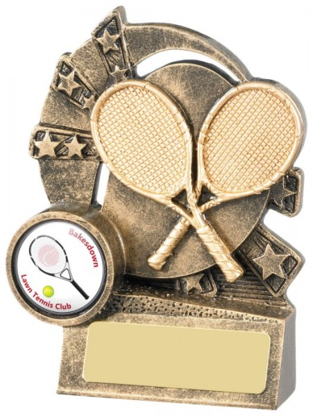 Resin Tennis Trophies in Antique Gold Coloured FInish 1