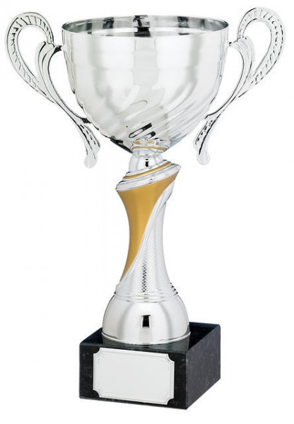 Silver and Gold Coloured Trophy Cups On Black Marble Base 1